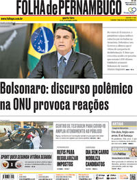 Capa do jornal Folha de Pernambuco 23/09/2020