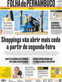 Capa do jornal Folha de Pernambuco 24/07/2020