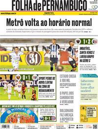 Capa do jornal Folha de Pernambuco 24/08/2020