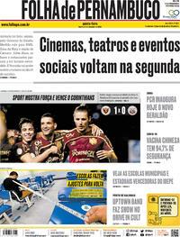 Capa do jornal Folha de Pernambuco 24/09/2020