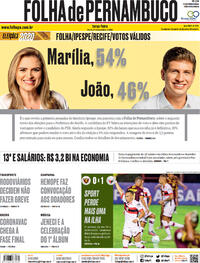 Capa do jornal Folha de Pernambuco 24/11/2020