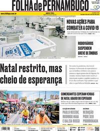Capa do jornal Folha de Pernambuco 24/12/2020