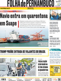 Capa do jornal Folha de Pernambuco 25/05/2020