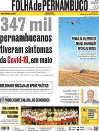 Capa do jornal Folha de Pernambuco 25/06/2020