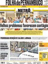Capa do jornal Folha de Pernambuco 25/08/2020