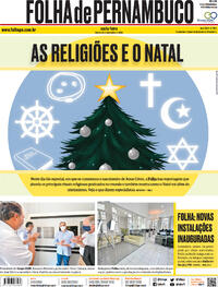Capa do jornal Folha de Pernambuco 25/12/2020