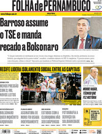 Capa do jornal Folha de Pernambuco 26/05/2020