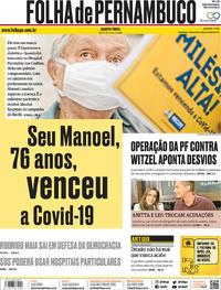 Capa do jornal Folha de Pernambuco 27/05/2020