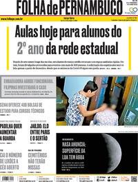 Capa do jornal Folha de Pernambuco 27/10/2020