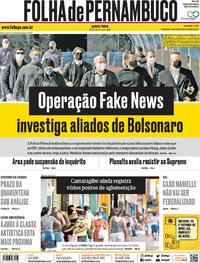 Capa do jornal Folha de Pernambuco 28/05/2020
