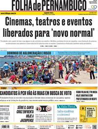 Capa do jornal Folha de Pernambuco 28/09/2020
