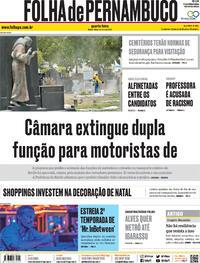 Capa do jornal Folha de Pernambuco 28/10/2020
