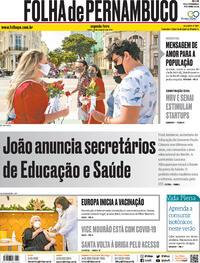 Capa do jornal Folha de Pernambuco 28/12/2020