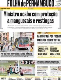 Capa do jornal Folha de Pernambuco 29/09/2020