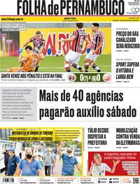 Capa do jornal Folha de Pernambuco 30/07/2020