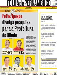 Capa do jornal Folha de Pernambuco 30/10/2020