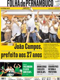Capa do jornal Folha de Pernambuco 30/11/2020