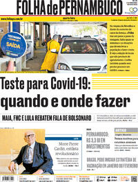 Capa do jornal Folha de Pernambuco 30/12/2020