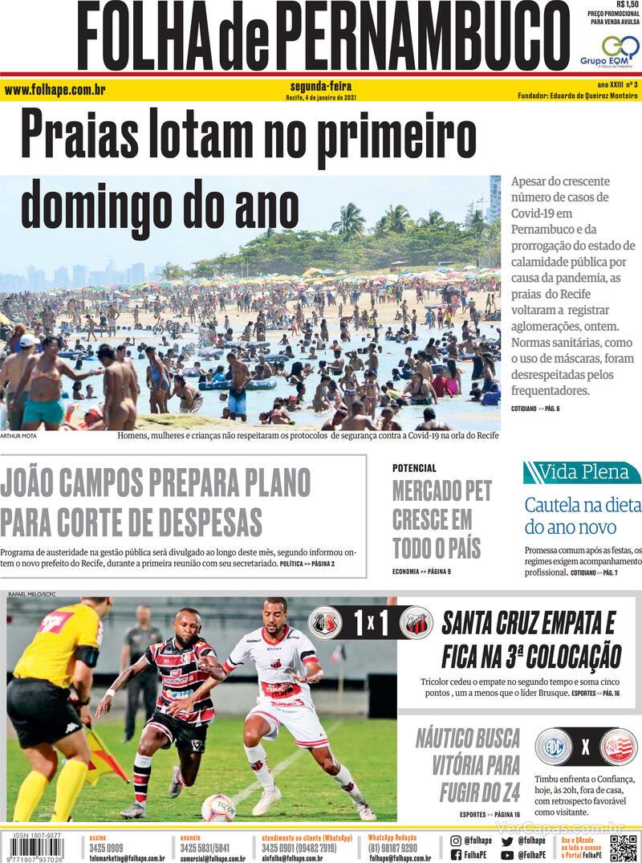 Capa do jornal Folha de Pernambuco 04/01/2021