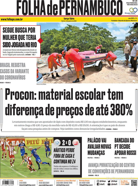 Capa do jornal Folha de Pernambuco 05/01/2021