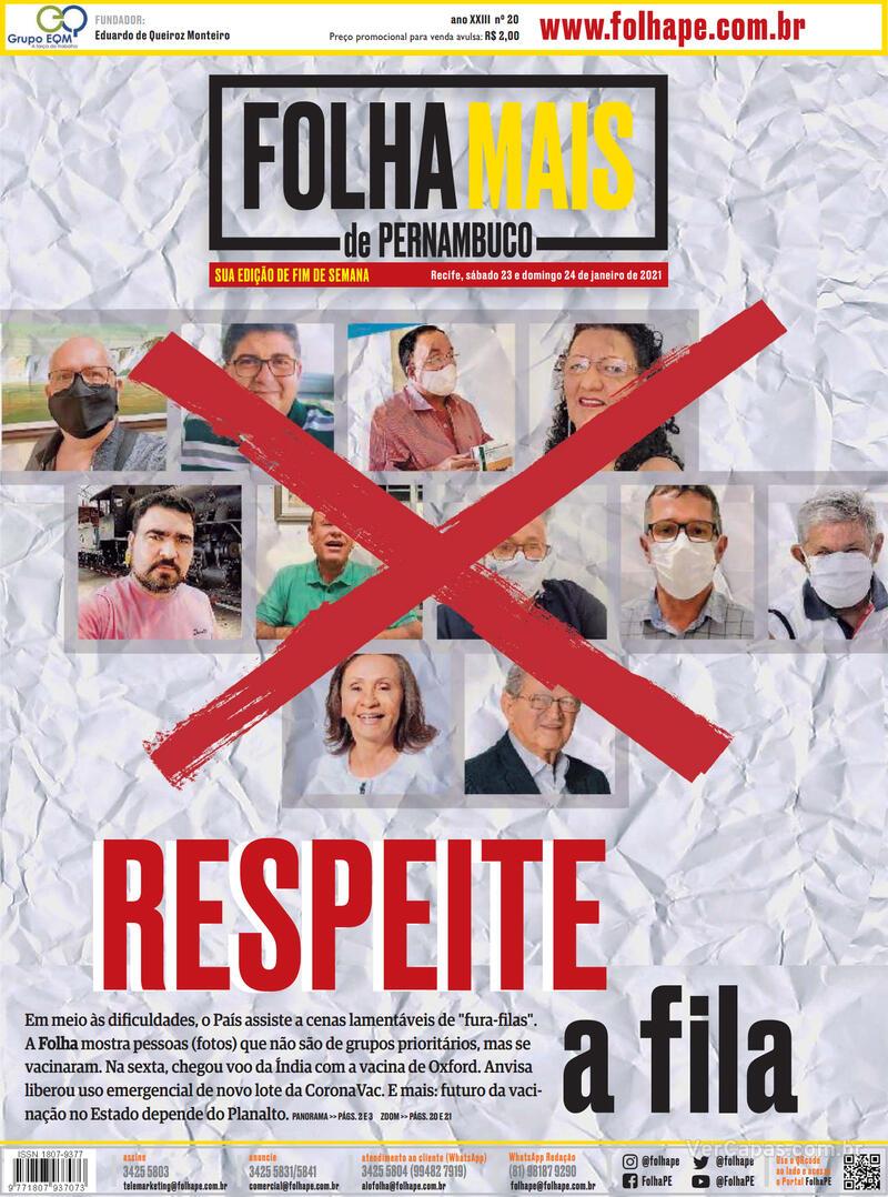 Capa do jornal Folha de Pernambuco 23/01/2021