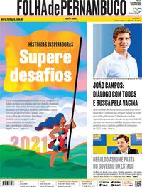 Capa do jornal Folha de Pernambuco 01/01/2021