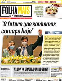 Capa do jornal Folha de Pernambuco 02/01/2021