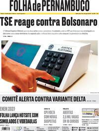 Capa do jornal Folha de Pernambuco 03/08/2021