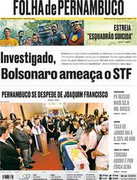 Capa do jornal Folha de Pernambuco 05/08/2021