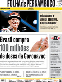 Capa do jornal Folha de Pernambuco 08/01/2021
