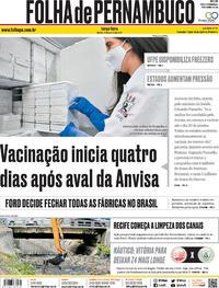 Capa do jornal Folha de Pernambuco 12/01/2021