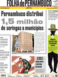 Capa do jornal Folha de Pernambuco 13/01/2021