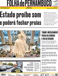Capa do jornal Folha de Pernambuco 14/01/2021