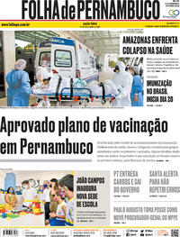 Capa do jornal Folha de Pernambuco 15/01/2021