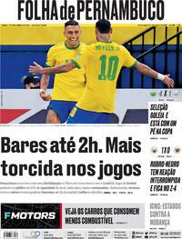 Capa do jornal Folha de Pernambuco 15/10/2021