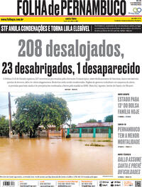 Capa do jornal Folha de Pernambuco 16/04/2021
