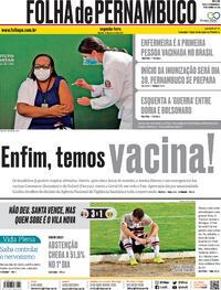 Capa do jornal Folha de Pernambuco 18/01/2021