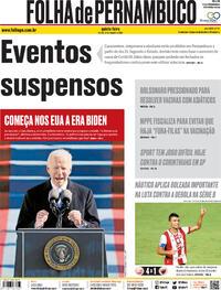 Capa do jornal Folha de Pernambuco 21/01/2021