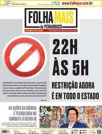 Capa do jornal Folha de Pernambuco 27/02/2021