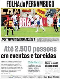 Capa do jornal Folha de Pernambuco 27/09/2021