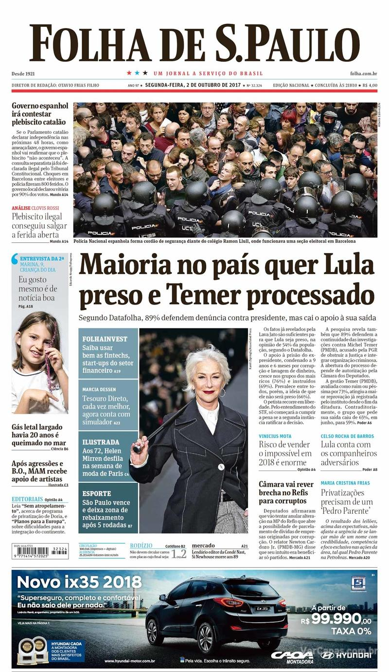 Capa do jornal Folha de S.Paulo 02/10/2017
