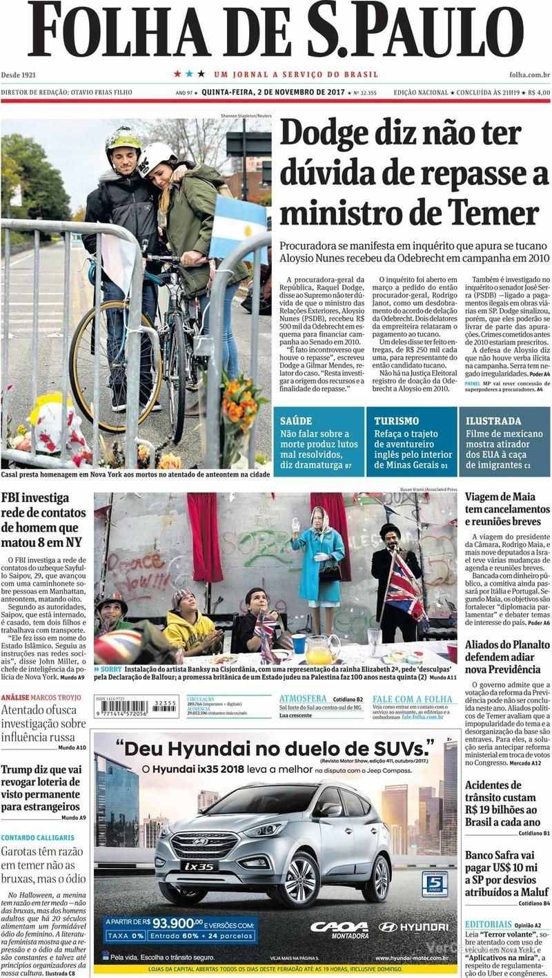Capa do jornal Folha de S.Paulo 02/11/2017
