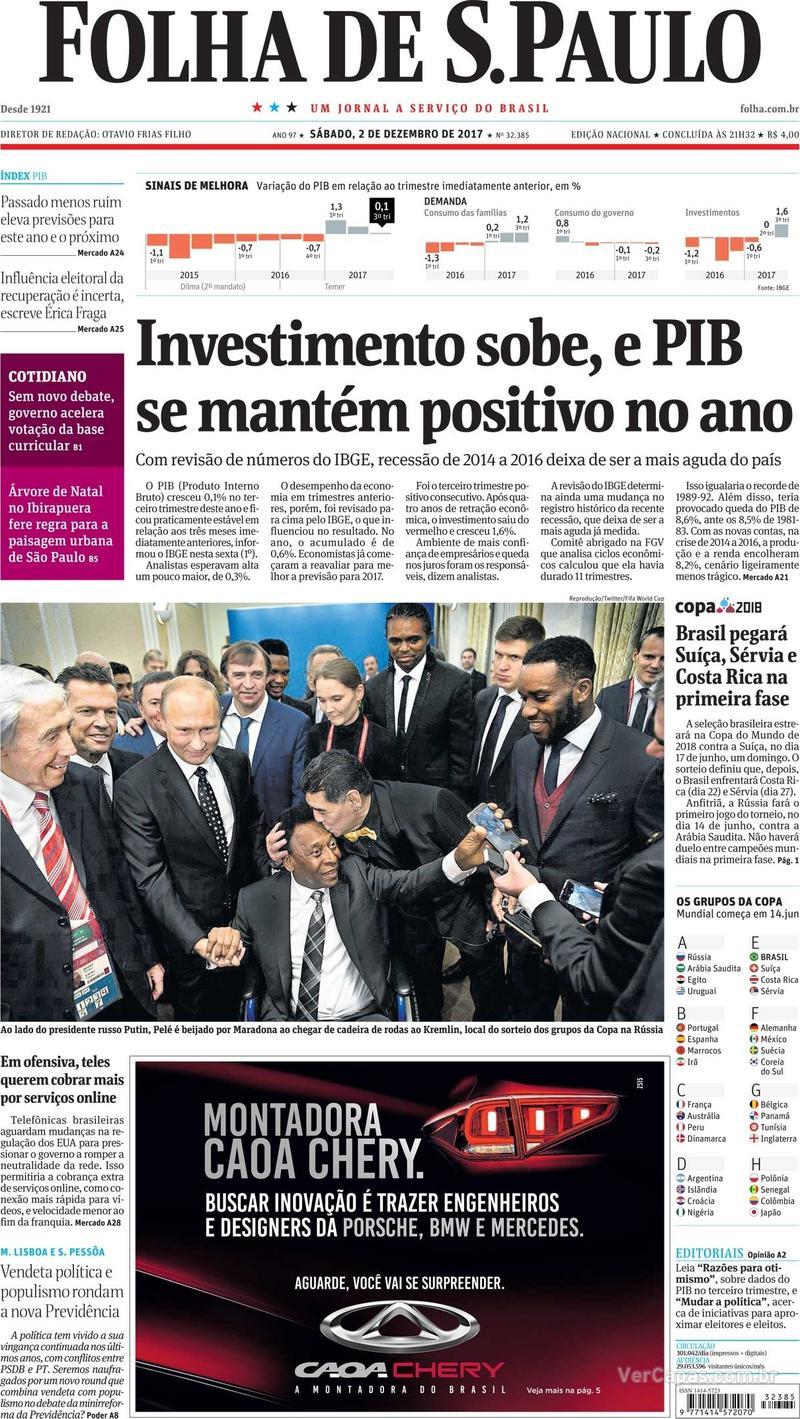 Capa do jornal Folha de S.Paulo 02/12/2017