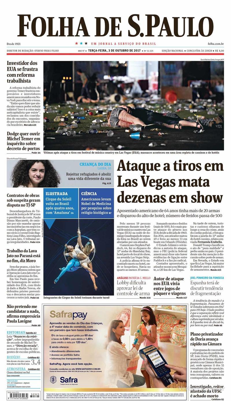 Capa do jornal Folha de S.Paulo 03/10/2017