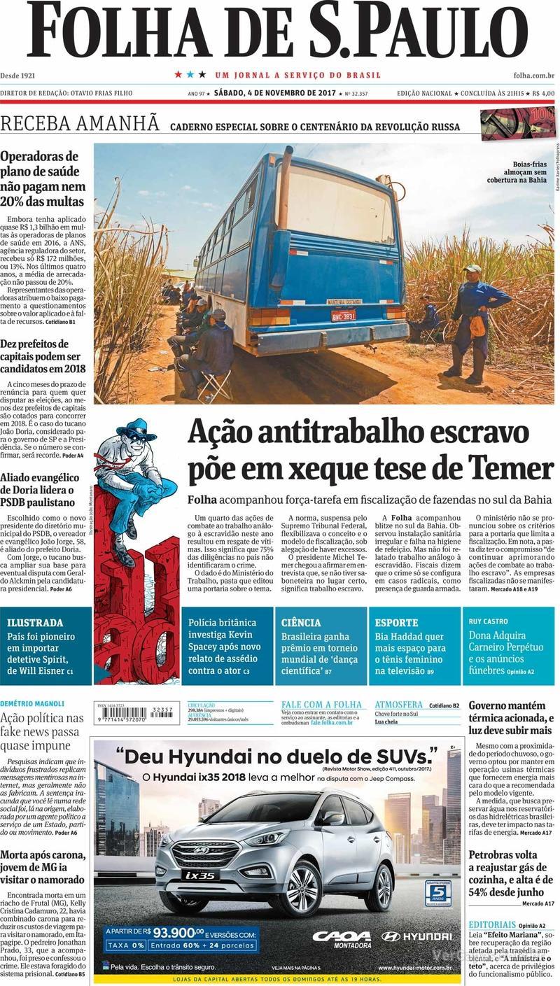 Capa do jornal Folha de S.Paulo 04/11/2017