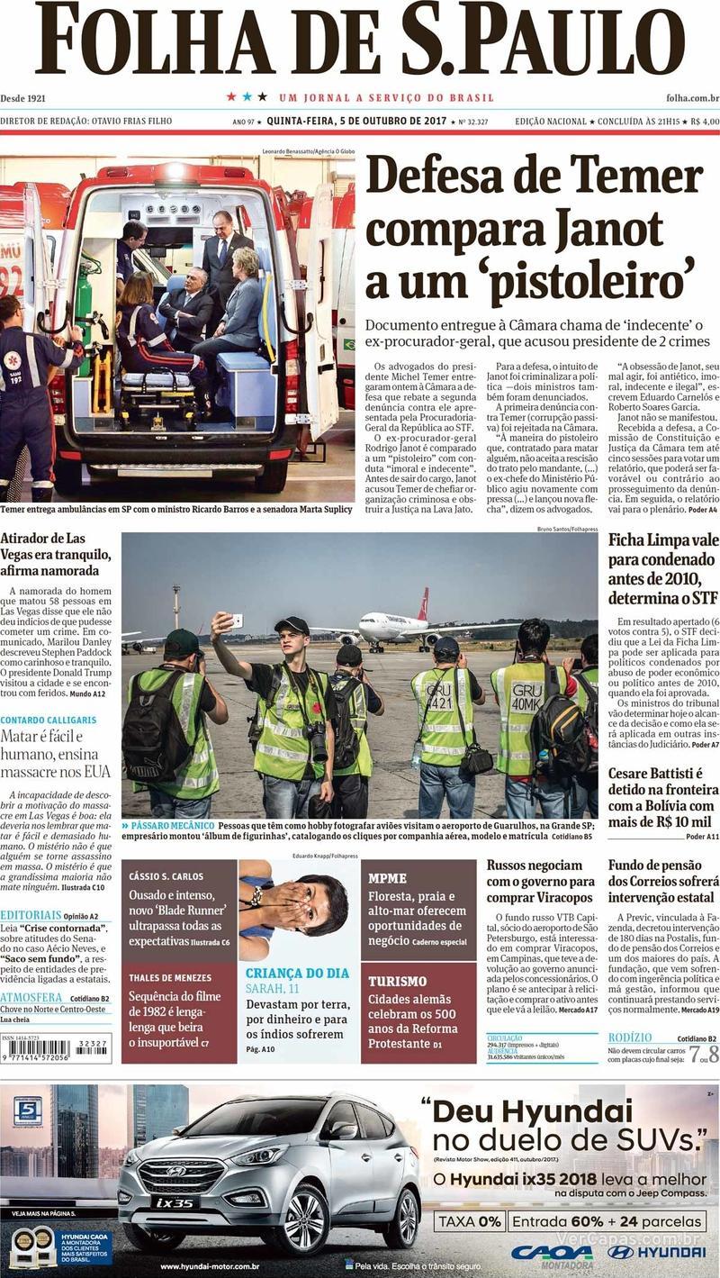 Capa do jornal Folha de S.Paulo 05/10/2017