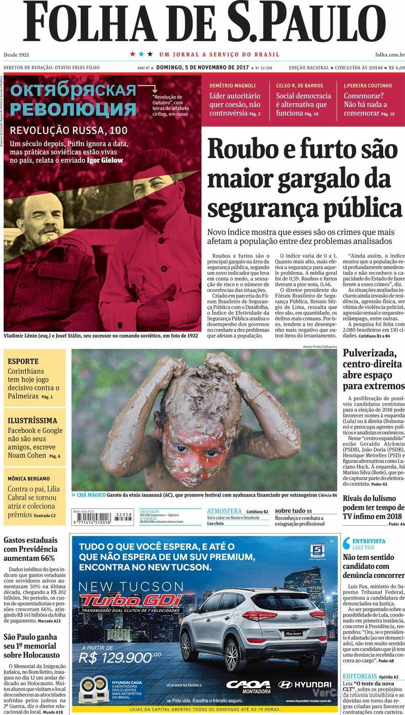 Capa do jornal Folha de S.Paulo 05/11/2017
