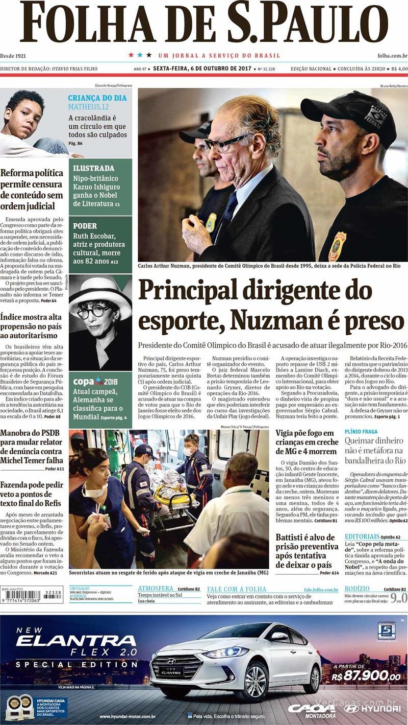 Capa do jornal Folha de S.Paulo 06/10/2017