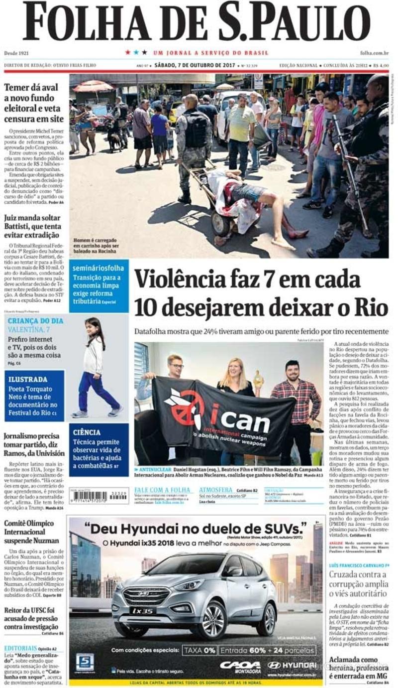 Capa do jornal Folha de S.Paulo 07/10/2017