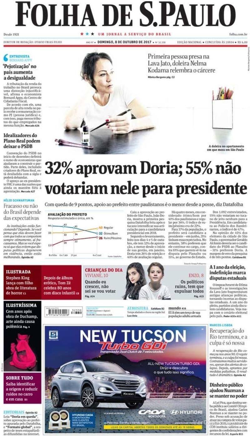 Capa do jornal Folha de S.Paulo 08/10/2017